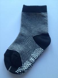 4806 antislip sokken donker / offwhite fijn gestreept