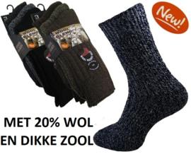 Thermosokken 20% wol, zonder knellend boord, set van 3 paar, blauw - maat 39 - 45