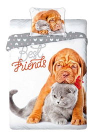 Dieren dekbedovertrek - Best Friends  - Shar Pei en Britse Korthaar