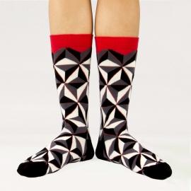 Ballonet Prism heren sokken mt 41 - 46 grijs,zwart, offwhite en rood