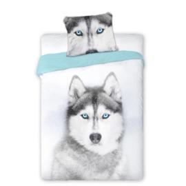 Dieren dekbedovertrek -  Husky met blauw groene ogen