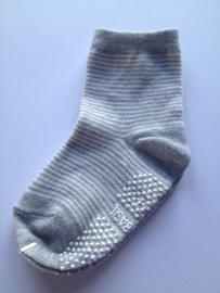 4805 antislip sokken middengrijs/offwhite fijn gestreept