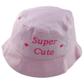 Zonnehoedje Super Cute licht roze  - maat 50,52