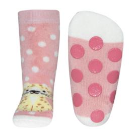 Ewers anti slip sokken Luipaard rose maat 18-19