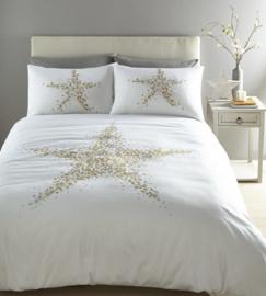 Star Bright Gold Metallic print dekbedovertrek - wit met goud/zilver - eenpersoons met 1 kussensloop