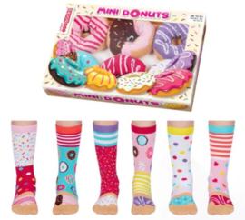 Oddsocks - Mismatched sokken - Cadeaudoos met 6 verschillende Odd Socks sokken - Mini Donuts - maat 30,5 tot 38
