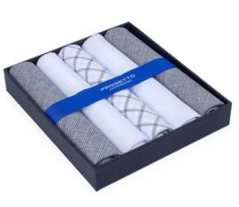 Cadeau doosje heren zakdoeken - 5 x katoenen zakdoek - zwart/Wit