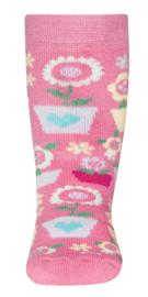 Ewers antislip sokken rose met bloemen maat 18/19