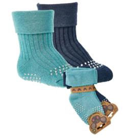 anti slip sokken - bio katoen - Krabbel sokken  2 paar blauw - maat 74/86
