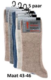 Diabetes sokken 5 paar variatie kleuren non elastic boorden en handgenaaide teennaad mt 43-46