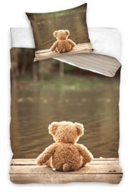 Teddybeer wachtend op een vriendje dekbedovertrek