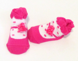 Baby sokje in ballet schoentjes model  roze/wit/stippen in cadeau zakje