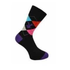 Playboy sokken voor heren met ruiten en paarse hiel en teen in maat 39 - 45