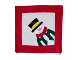 Kerst kussenhoesje maat 41x41 - Sneeuwpop - rood/creme/wit/groen
