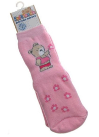 4786 Soft Touch anti slip pantoffel sokken roze beer maat 17-18 (6 tot 12 mnd)