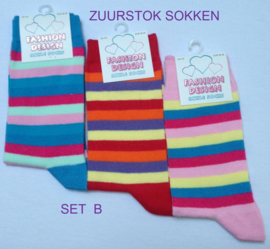 Sokken set van 3 paar rainbow / zuurstok gestreept - maat 36 - 39