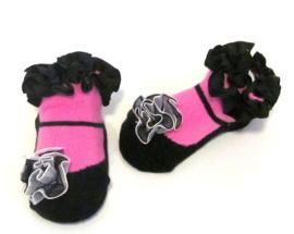 Baby sokje in ballet schoentjes model  zwart/fuchsia in cadeau zakje