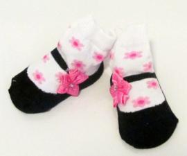 Baby sokje in ballet schoentjes model zwart/wit/rose in cadeau zakje