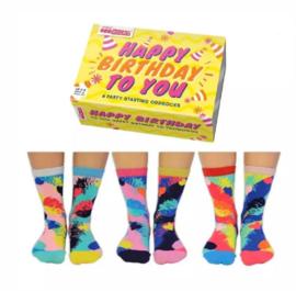 Oddsocks - Cadeaudoos met 6 verschillende sokken Happy Birthday to You - Geel doosje- maat  37-42
