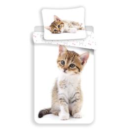 Dieren dekbedovertrek - Poes / kitten op witte ondergrond