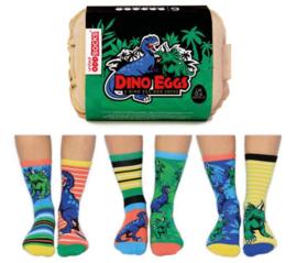 Oddsocks Mismatched sokken - Cadeaudoos met 6 verschillende sokken - Dino Eggs - maat 30,5 tot 39