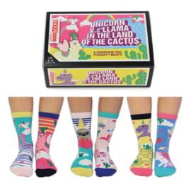 Oddsocks - Mismatched sokken - Cadeaudoos met 6 Unicorn/Llama sokken - maat  37 tot 42