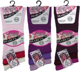 Diabetes sokken 3 paar (kleuren naar keuze), non elastic boorden en handgenaaide teennaad , mt 37 - 42