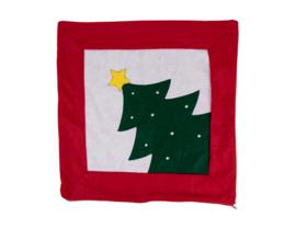 Kerst kussenhoesje maat 41x41 - Kerstboom - rood/creme/groen