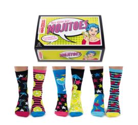 Oddsocks - Mismatched sokken - Cadeaudoos met 6 Mojitoes sokken - maat  37 tot 42