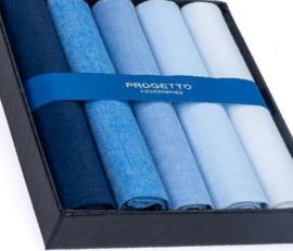 Cadeau doosje heren zakdoeken - 5 x katoenen zakdoek - blauw assorti