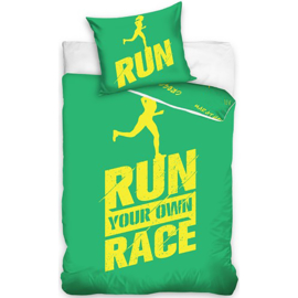 Run your own race dekbedovertrek groen