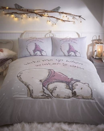 Winterslaap dekbedovertrek Lazy Bear 1 persoons
