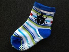 5293 antislip sokken offwhite, blauw,  groen met kever