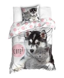 Husky en Kitten dieren dekbedovertrek - eenpersoons met 1 kussensloop
