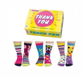 Oddsocks - Cadeaudoos met 6 verschillende sokken Thank You - Geel doosje- maat 37-42