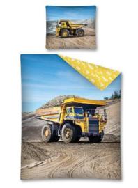Wegwerkers dekbedovertrek met grote afbeelding van okergele zandauto / kiepwagen