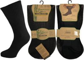EXTRA WIJD Bamboe diabetes non elastic heren sokken 3 paar zwart met handgenaaide teennaad, mt 39-45