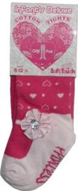 Baby maillot met hartjes en satijnen rozet met glinsterend hartje - maat 6 tot 12 mnd