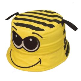 Zonnehoedje Bij  in geel met zwarte strepen en ogen - maat 48,50