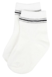 4809 antislip sokken off white met grijs en zwart streepje