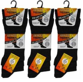 Diabetes dunne THERMO heren sokken 3 paar donkergrijs, non elastic boorden en handgenaaide teennaad , mt 39 - 45