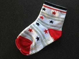 5291 antislip sokkencreme, grijs en rood met sterren