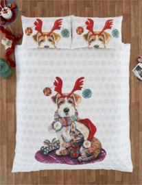 Kerst dekbedovertrek Hond en Poes  - 2 persoons met 2 kussenslopen