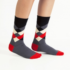 Ballonet Diamond  Cherry heren sokken mt 41 - 46  zwart, grijs, rood en offwhite