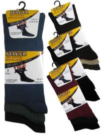 Diabetes katoenen heren sokken 3 paar donkere kleuren, non elastic boorden en handgenaaide teennaad , mt 39 - 45