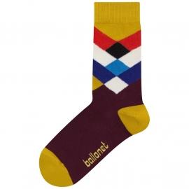 Ballonet Diamond  dames sokken mt 36 - 40 okergeel met rood, blauw en offwhite