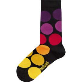 Ballonet GoDown dames sokken mt 36 - 40  zwart met kleurige rondjes