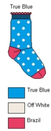 Bonnie Doon babysokken blauw met witte stippen en roze accenten