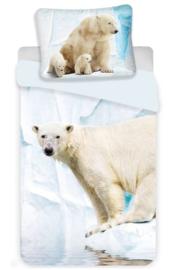 IJsbeer  eenpersoons dekbedovertrek Polar Bear met jongen - eenpersoons met 1 kussensloop
