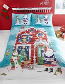 Kerst dekbedovertrek Waiting for Santa - lits jumeaux met 2 kussenslopen